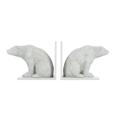 Abigail Ahern/EDITION Set of two designer grey resin polar bear bookends - . -