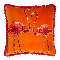 Abigail Ahern/EDITION - Designer orange velvet flamingo cushion