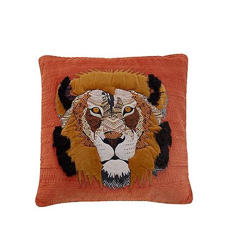 abigail-ahern-edition - Orange lion applique feather filled cushion