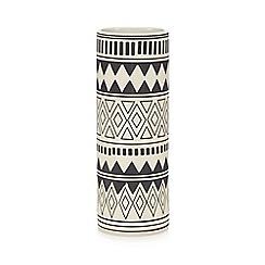 Abigail Ahern/EDITION - Black Aztec print cylinder vase