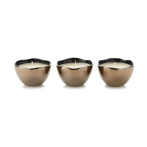 RJR.John Rocha - Designer set of three Lily scented votive candles on a tray