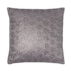 RJR.John Rocha - Designer grey metallic floral cushion