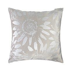 RJR.John Rocha - Designer taupe metallic daisy cushion