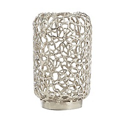 RJR.John Rocha - Designer silver matte and shiny coral candle holder