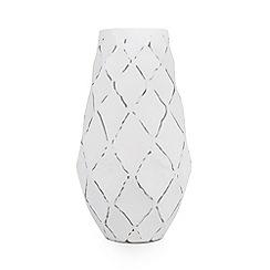 RJR.John Rocha - Designer white diamond dent metal large vase