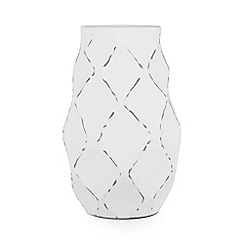 RJR.John Rocha - Designer white diamond dent metal medium vase