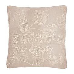 RJR.John Rocha - Beige floral stitched cushion