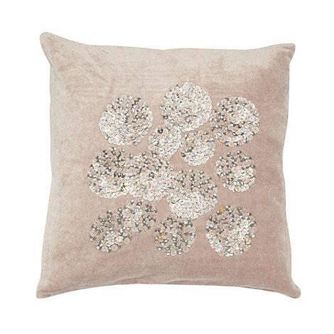 RJR.John Rocha - Designer natural sequin flower cushion