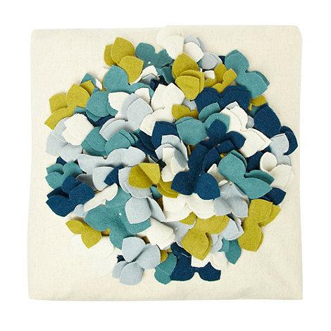 RJR.John Rocha - Cream appliqued felt floral cushion