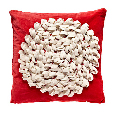 RJR.John Rocha - Red looped circle velvet cushion