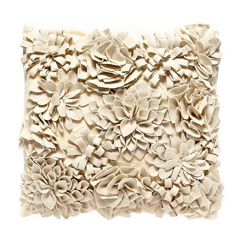RJR.John Rocha - Cream appliqued floral cushion