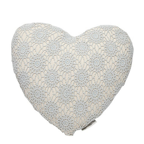 RJR.John Rocha - Blue crocheted heart cushion