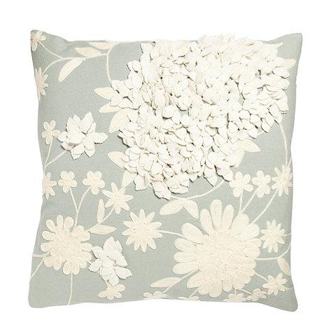 RJR.John Rocha - Designer turquoise appliqued floral cushion