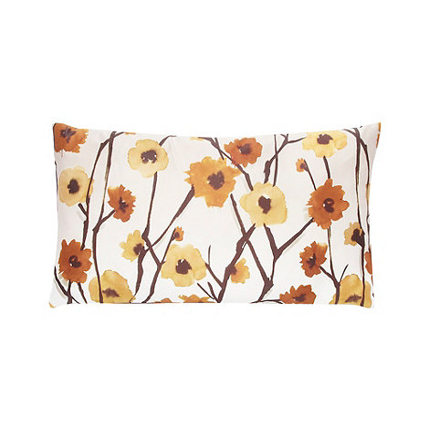 RJR.John Rocha - Designer brown satin floral cushion