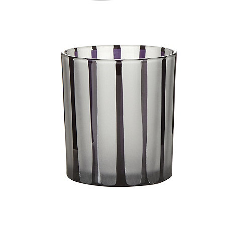Betty Jackson.Black - Designer black vertical striped tea light holder