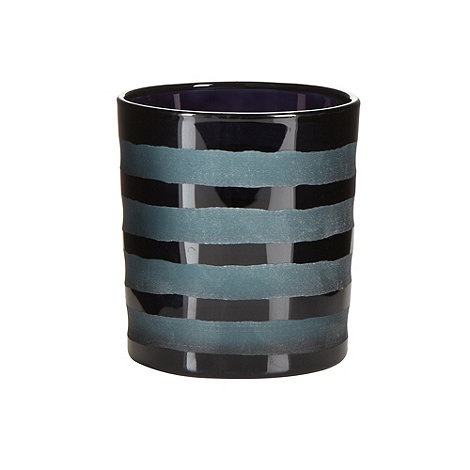Betty Jackson.Black - Designer black horizontal striped glass tea light holder