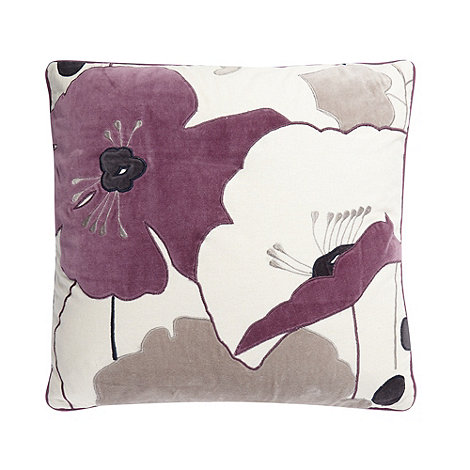 Betty Jackson.Black - Designer purple velvet poppy cushion