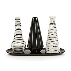 Betty Jackson.Black - Set of three black ceramic patterned vases and tray