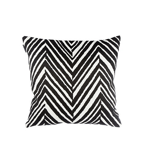 Betty Jackson.Black - Designer black embroidered chevrons cushion