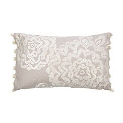 Betty Jackson.Black - Designer pale grey embroidered floral cushion