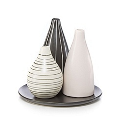 Betty Jackson.Black - Set of three white striped vases on a tray