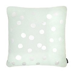 Betty Jackson.Black - Light blue metallic polka dot cushion