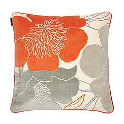 Betty Jackson.Black - Orange floral print cushion