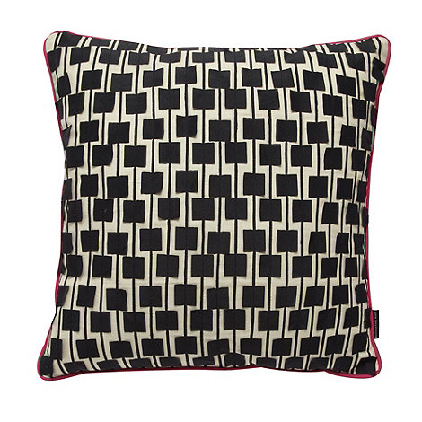 Betty Jackson.Black - Designer pink square applique cushion