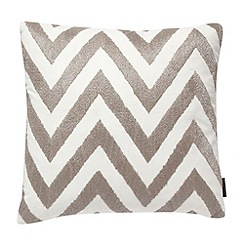 Betty Jackson.Black - Designer silver metallic zig zag cushion