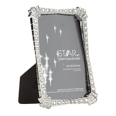 Star by Julien Macdonald - Designer metal diamante stepped 4x6 inch photo frame