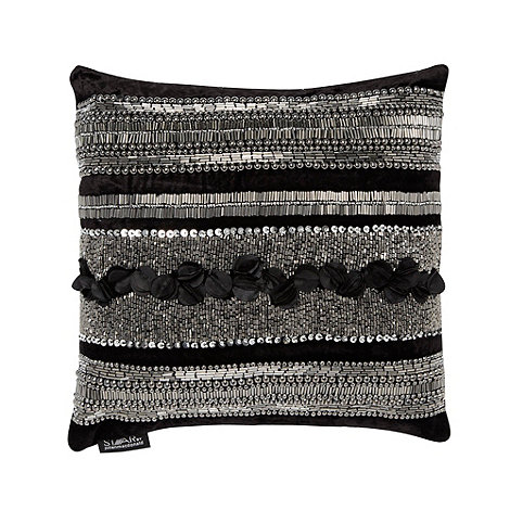 Star by Julien Macdonald - Designer black sequin bead cushion