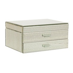 Star by Julien MacDonald - Designer silver striped glitter mirror jewellery box