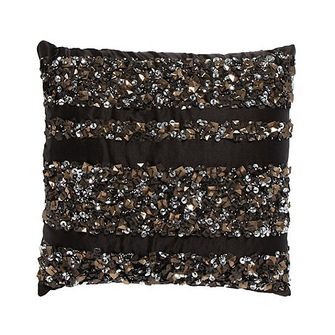 Star by Julien Macdonald - Designer black beaded cushion