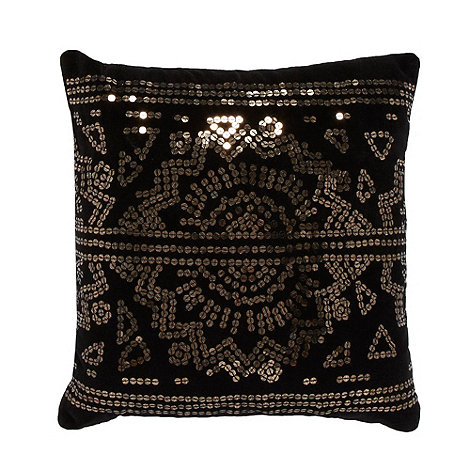 Star by Julien Macdonald - Designer black sequin cushion