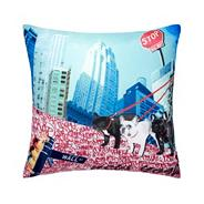 Designer white graffiti New York print cushion