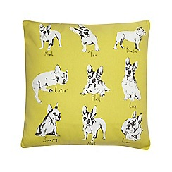 Ben de Lisi Home - Yellow bulldog print cushion