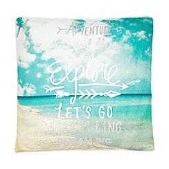 Ben de Lisi Home - Turquoise 'Adventure explore' print cushion