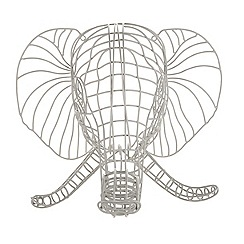 Ben de Lisi Home - Grey 3D wire elephant ornament
