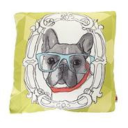 Designer lime green sketched dog motif cushion