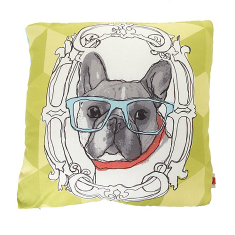 Ben de Lisi Home - Designer lime green sketched dog motif cushion