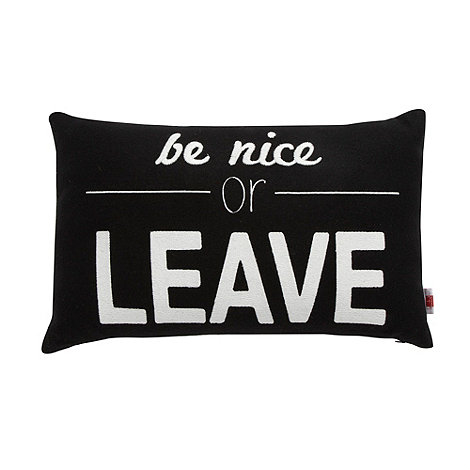 Ben de Lisi Home - Designer black +Be Nice+ cushion