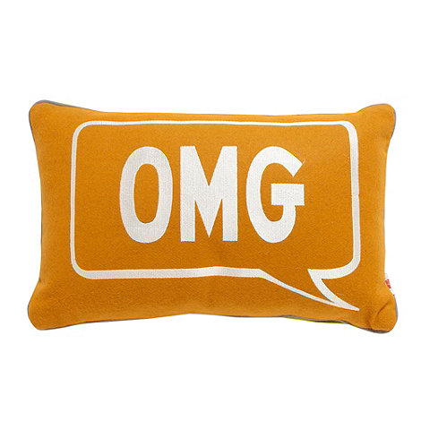 Ben de Lisi Home - Designer orange embroidered +OMG/ GR8+ cushion