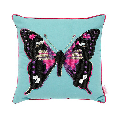 Butterfly Home by Matthew Williamson - Designer turquoise butterfly cushion