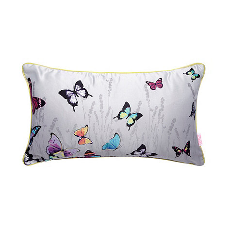 Butterfly Home by Matthew Williamson - Designer light grey butterfly cushion
