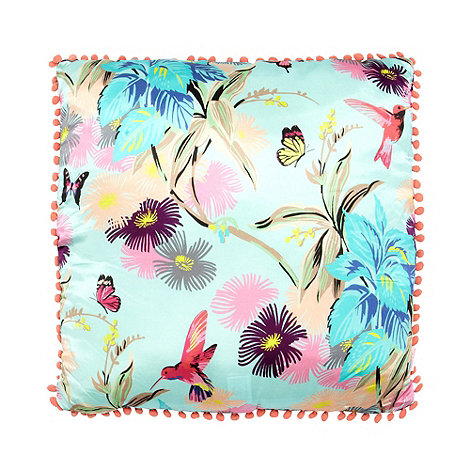 Butterfly Home by Matthew Williamson - Designer turquoise floral cushion
