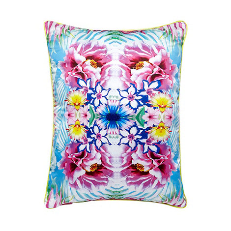 Butterfly Home by Matthew Williamson - Designer bright pink tropical flower cushion