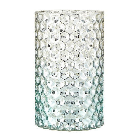 Butterfly Home by Matthew Williamson - Designer blue patterned metallic glass candle holder