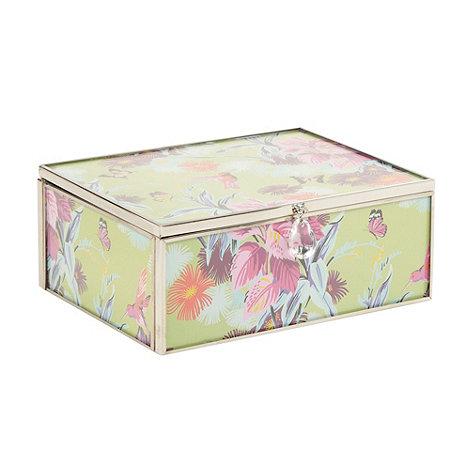 Butterfly Home by Matthew Williamson - Designer green floral glass medium jewellery box