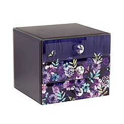 Butterfly Home by Matthew Williamson - Designer purple glass printed drawer unit