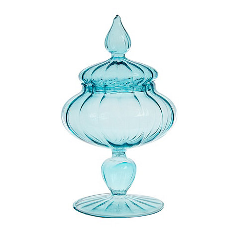 Butterfly Home by Matthew Williamson - Designer blue optic glass jar and lid